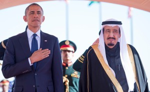 U.S. President Barack Obama stands with Saudi Arabia's King Salman after arriving in Riyadh